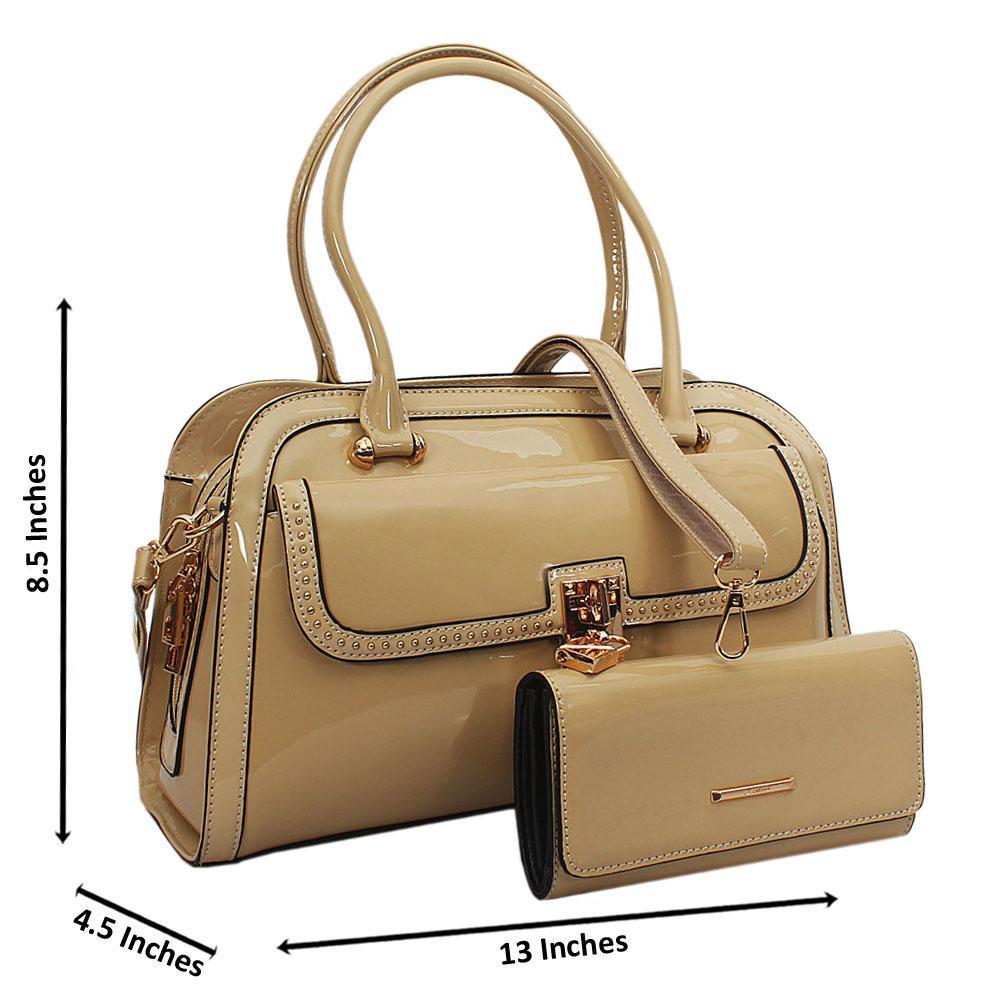 Remy Cream Patent Leather Tote Handbag Wt Purse