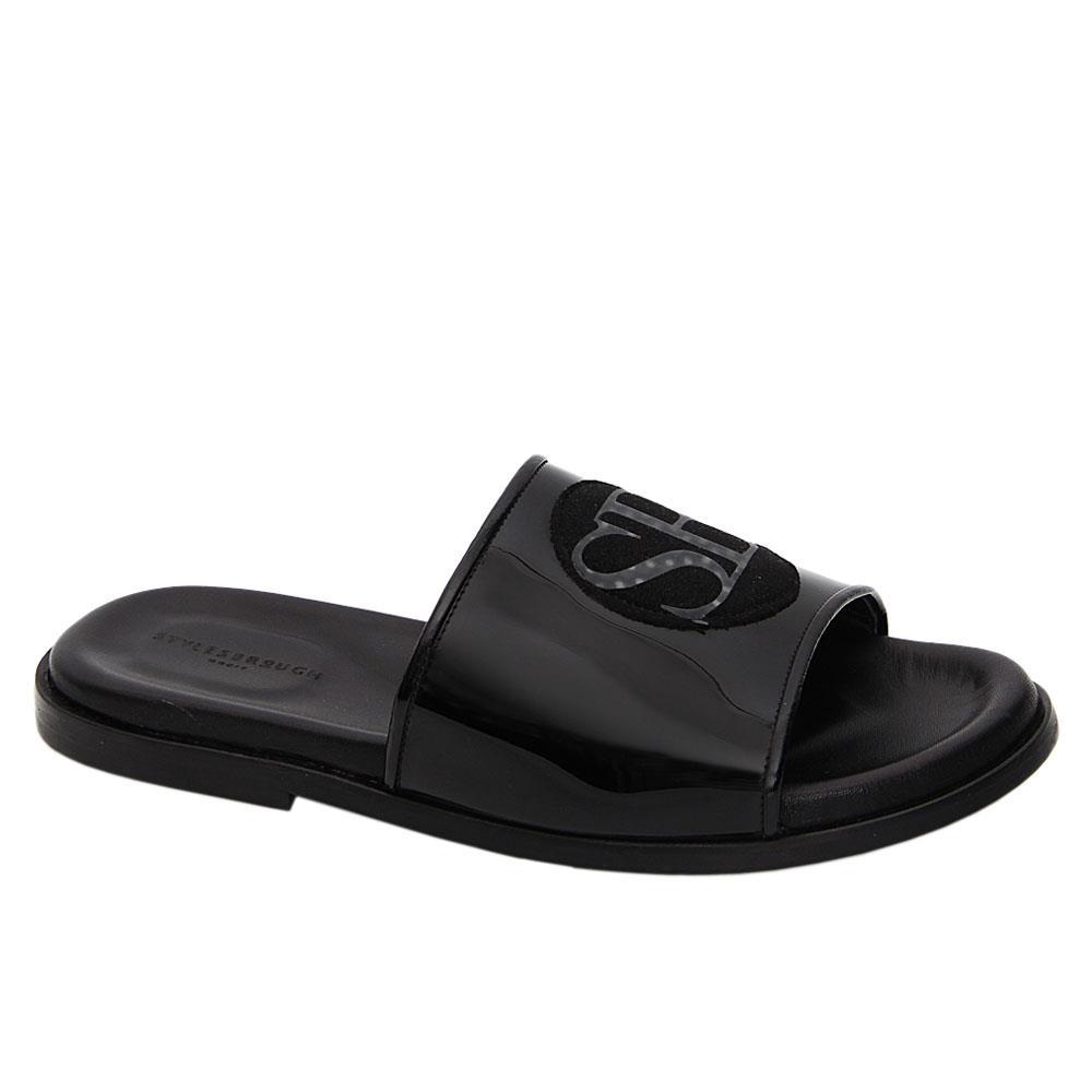 Black Marrioto Patent Italian Leather Slippers