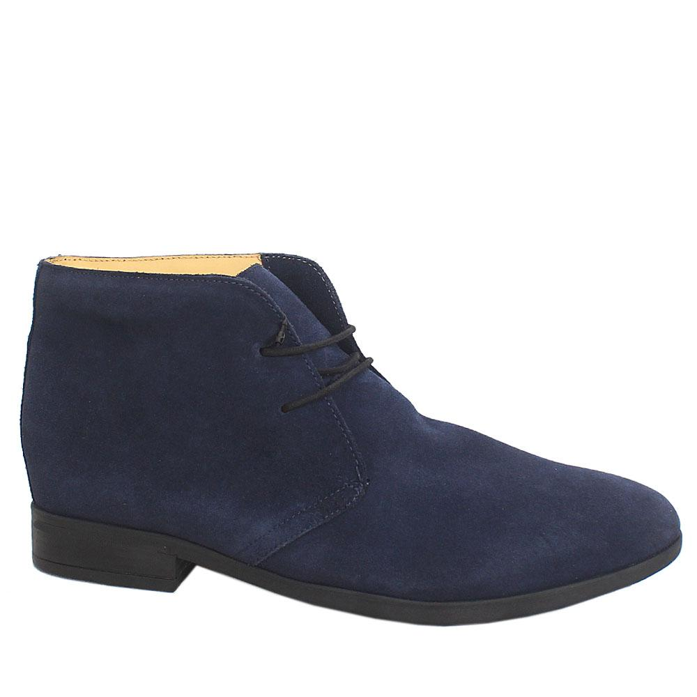 Blue Lace.Up Suede Leather Men Ankle Shoes