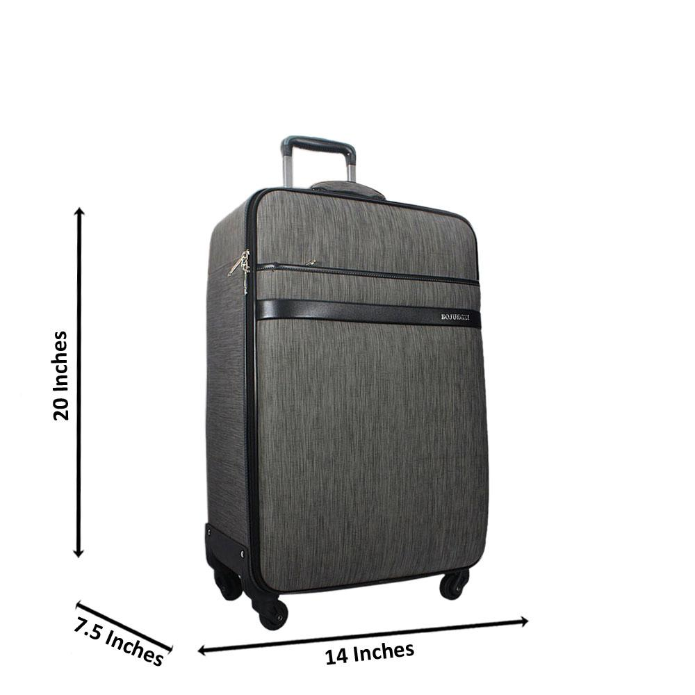 Grey 20 Inch Leather Small Hand Luggage