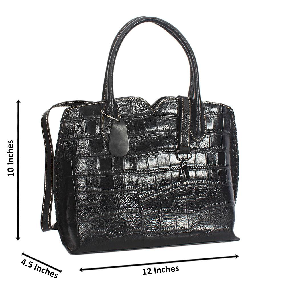 Ella Black Croc Cowhide Leather Tote Hand Handbag