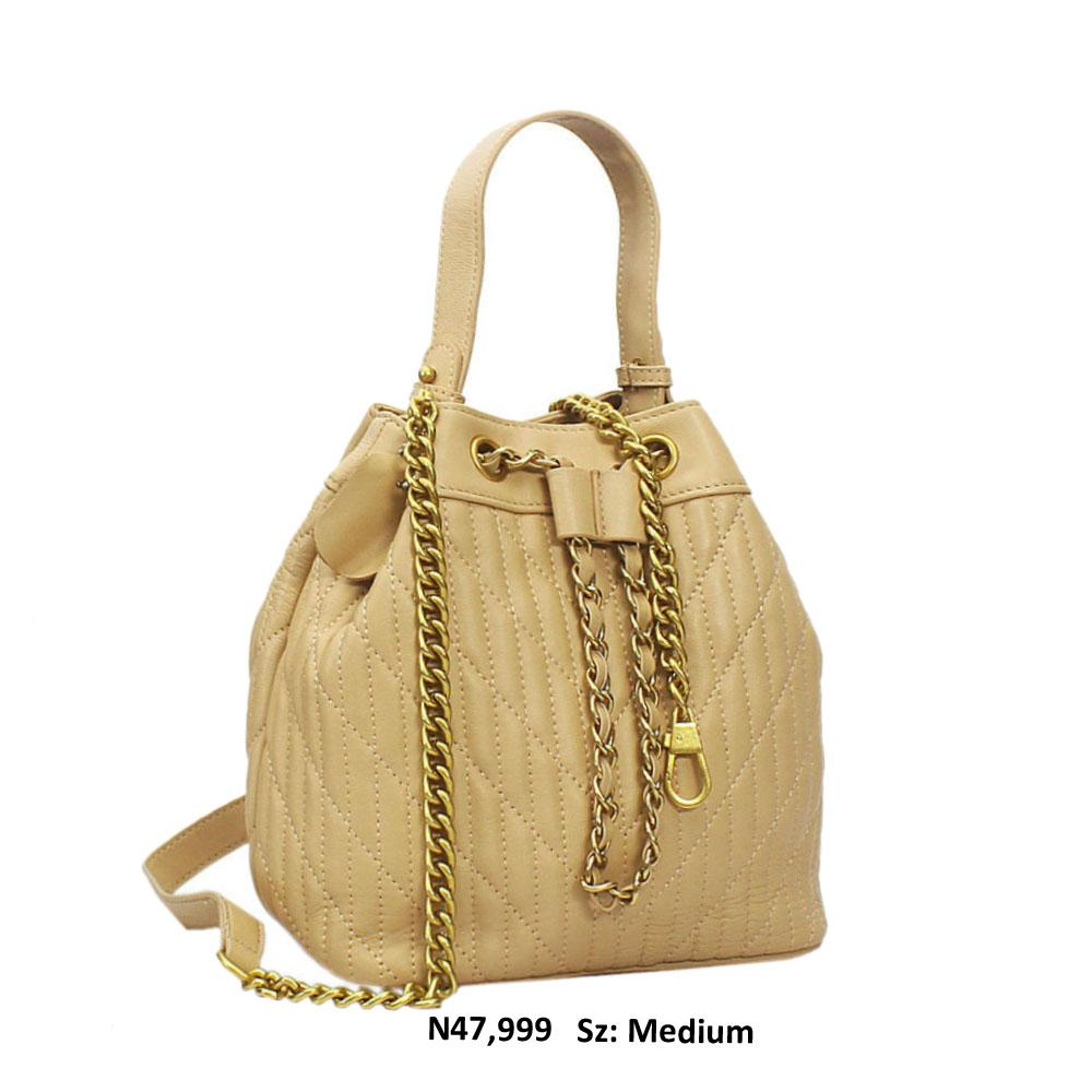 Beige Zita Leather Top Handle Handbag