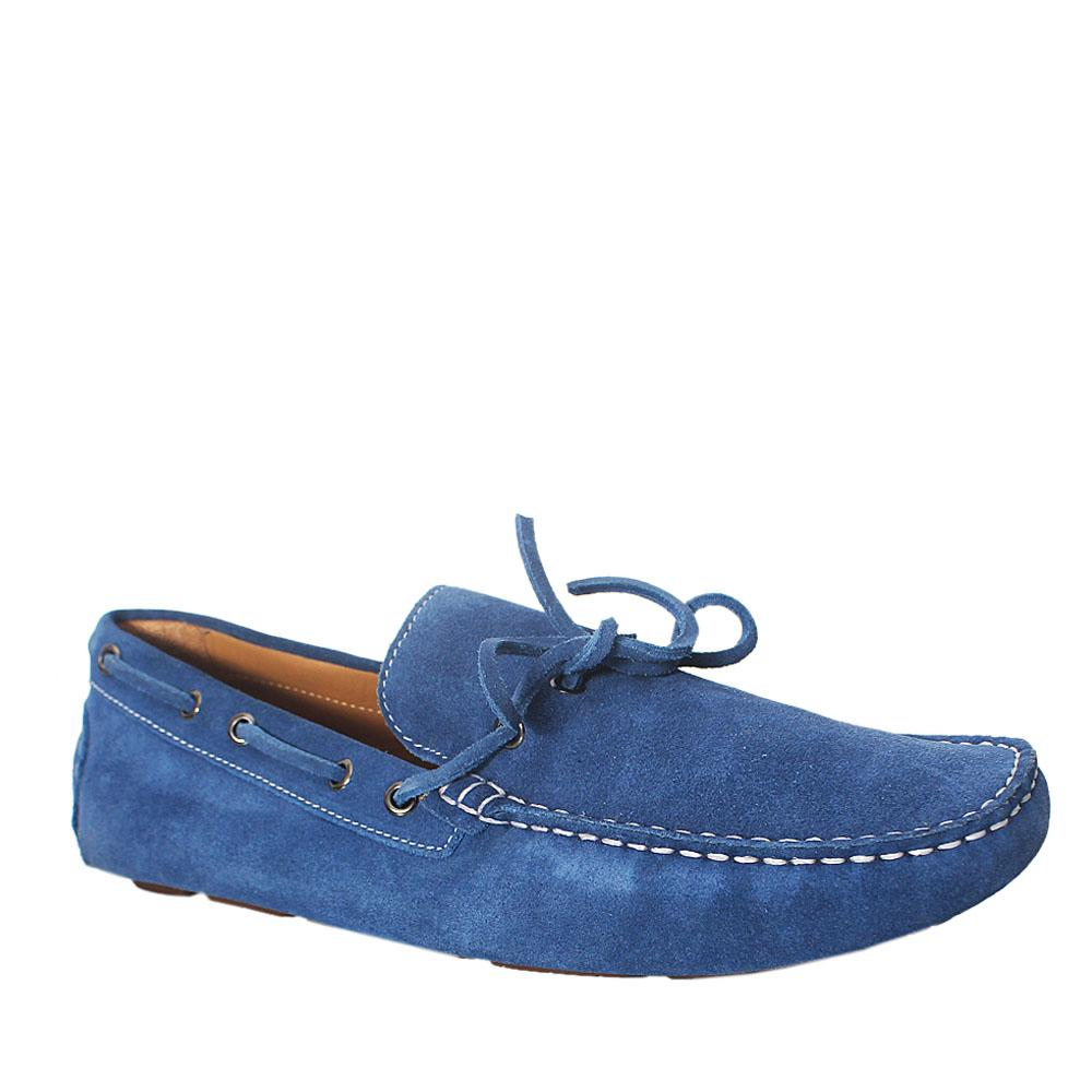 Sz 44.5 Mark & Spencer Blue Suede Leather Men Loafers