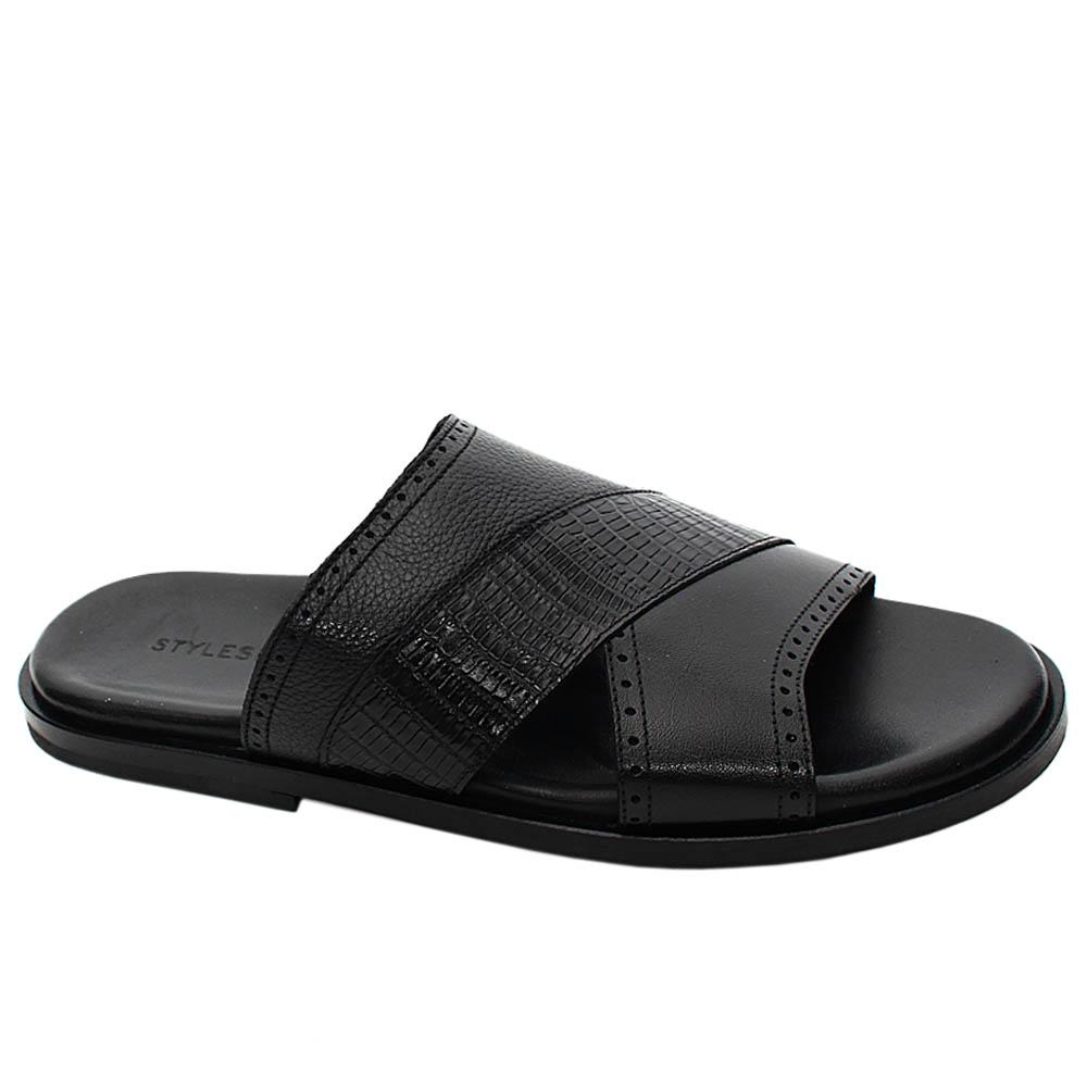 Black Francesco Italian Leather Men Slippers
