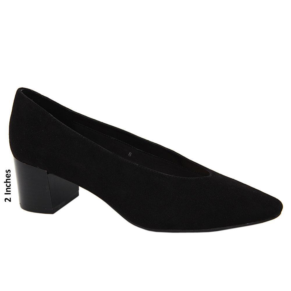Black Anastasia Suede Leather Mid Heel Pumps