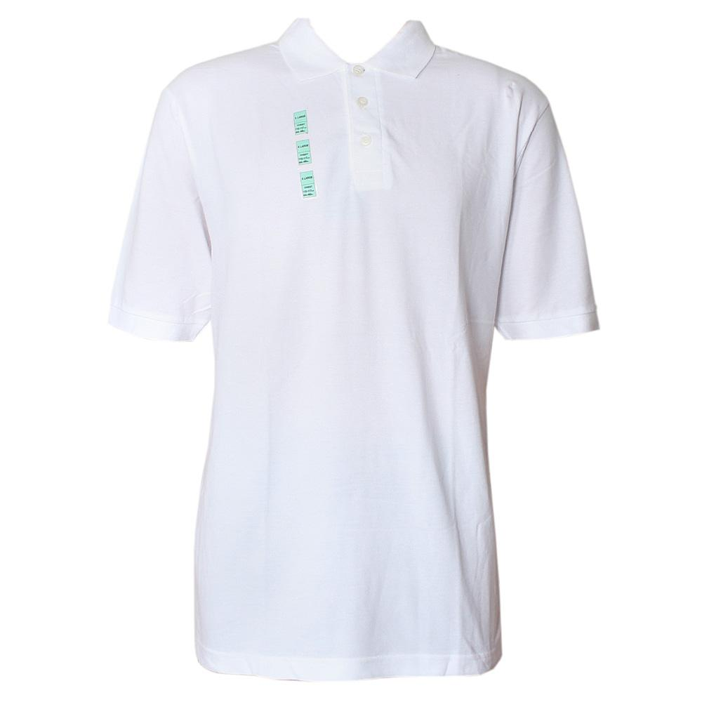 White Cotton S-Sleeve Men Polo-XL