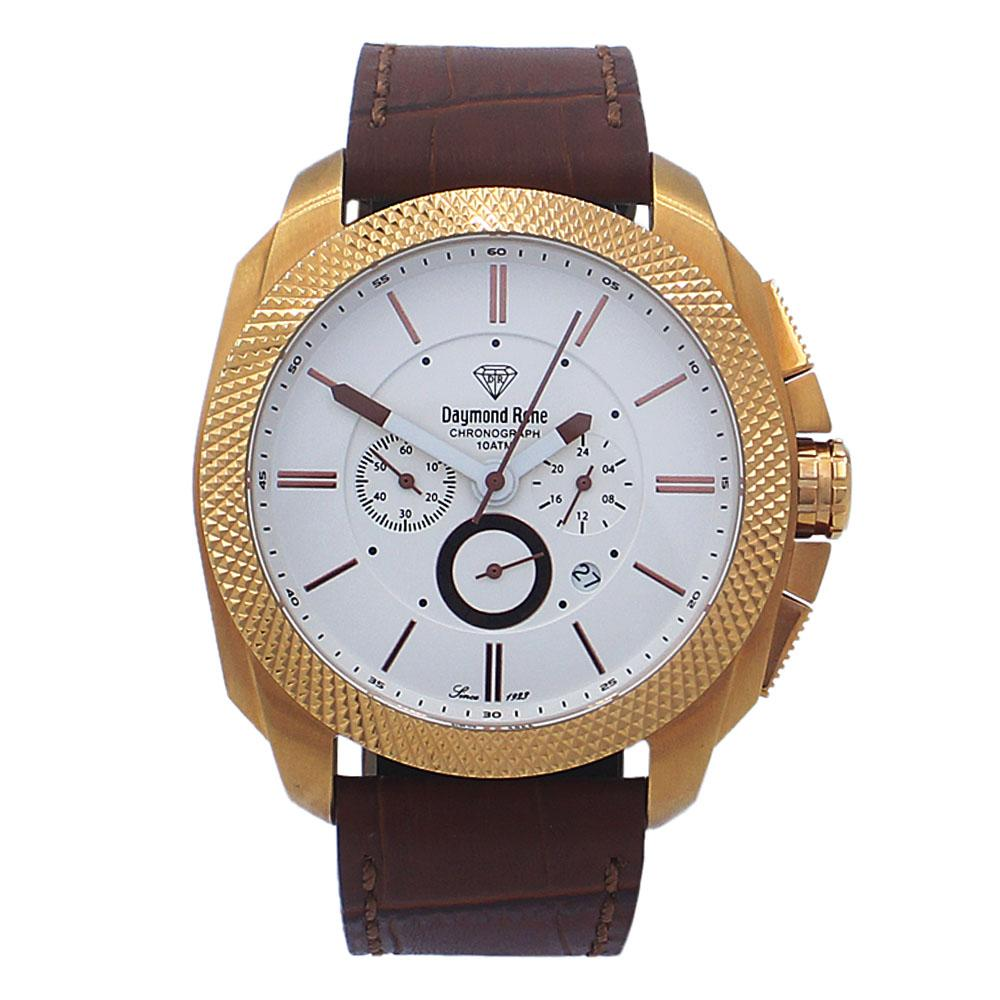 Cinnamon Brown Rose Gold Leather Chronograph Watch