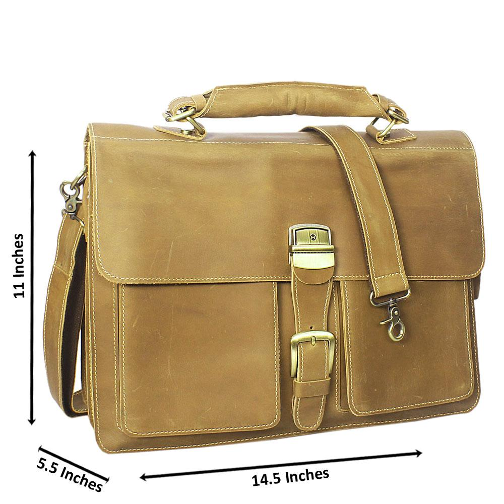 Peanut Brown Smooth Leather Briefcase