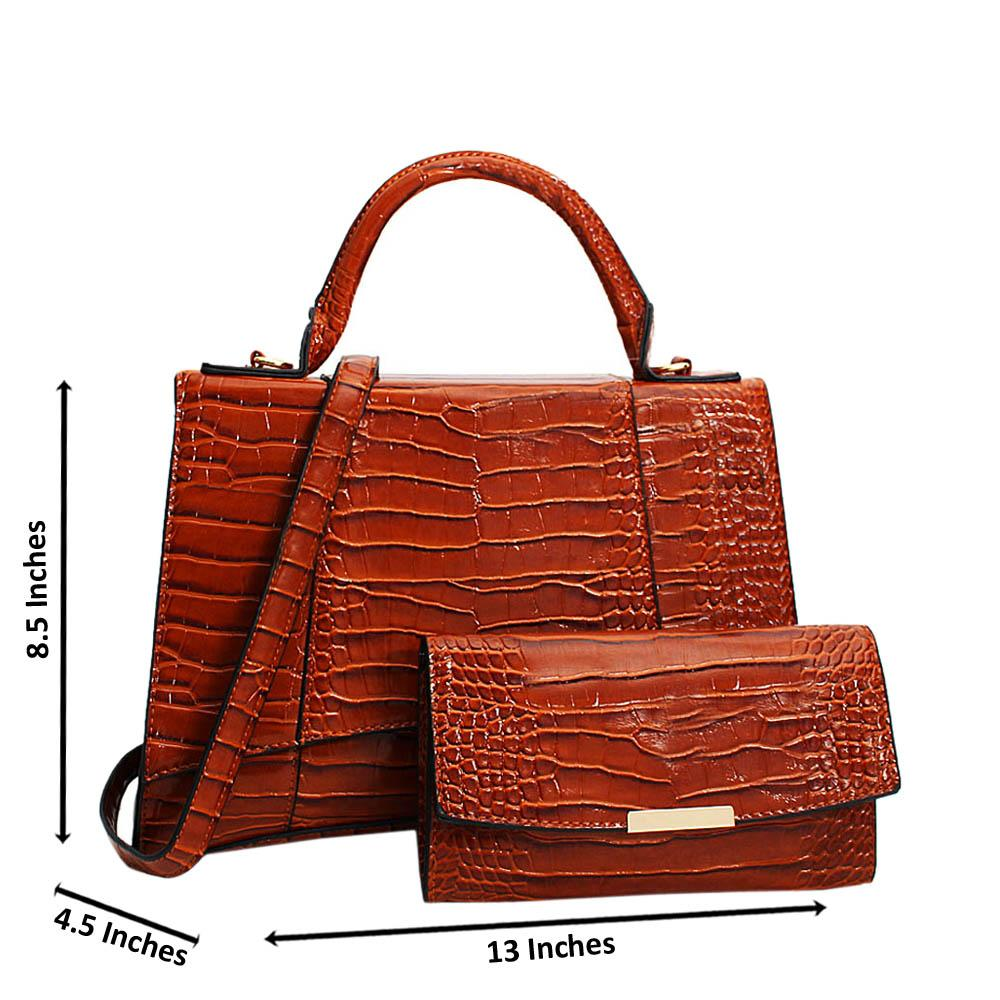 Brown Adrianna Patent Croc Leather Top Handle Handbag
