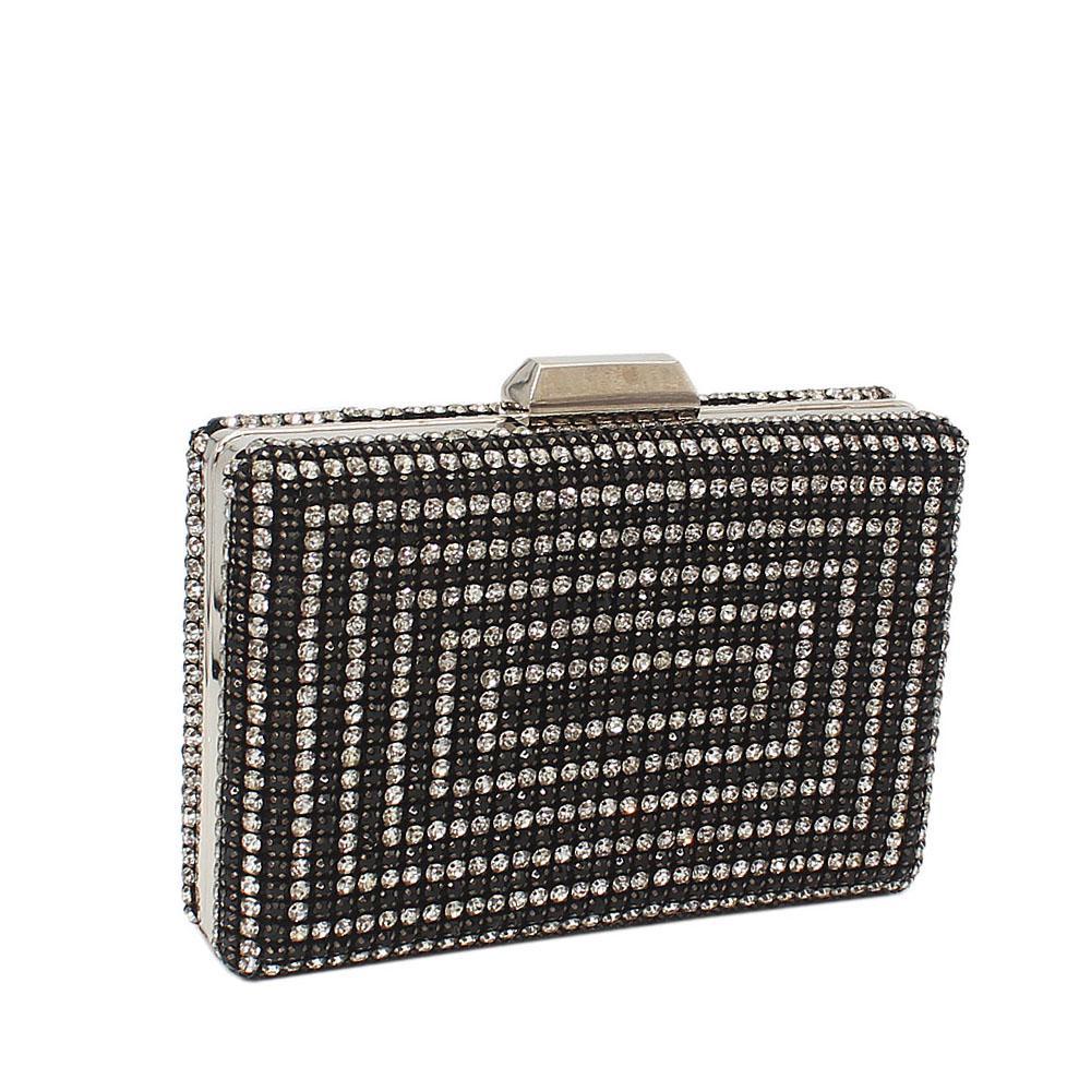 Black wt Davis Crystals Embellished Clutch Purse