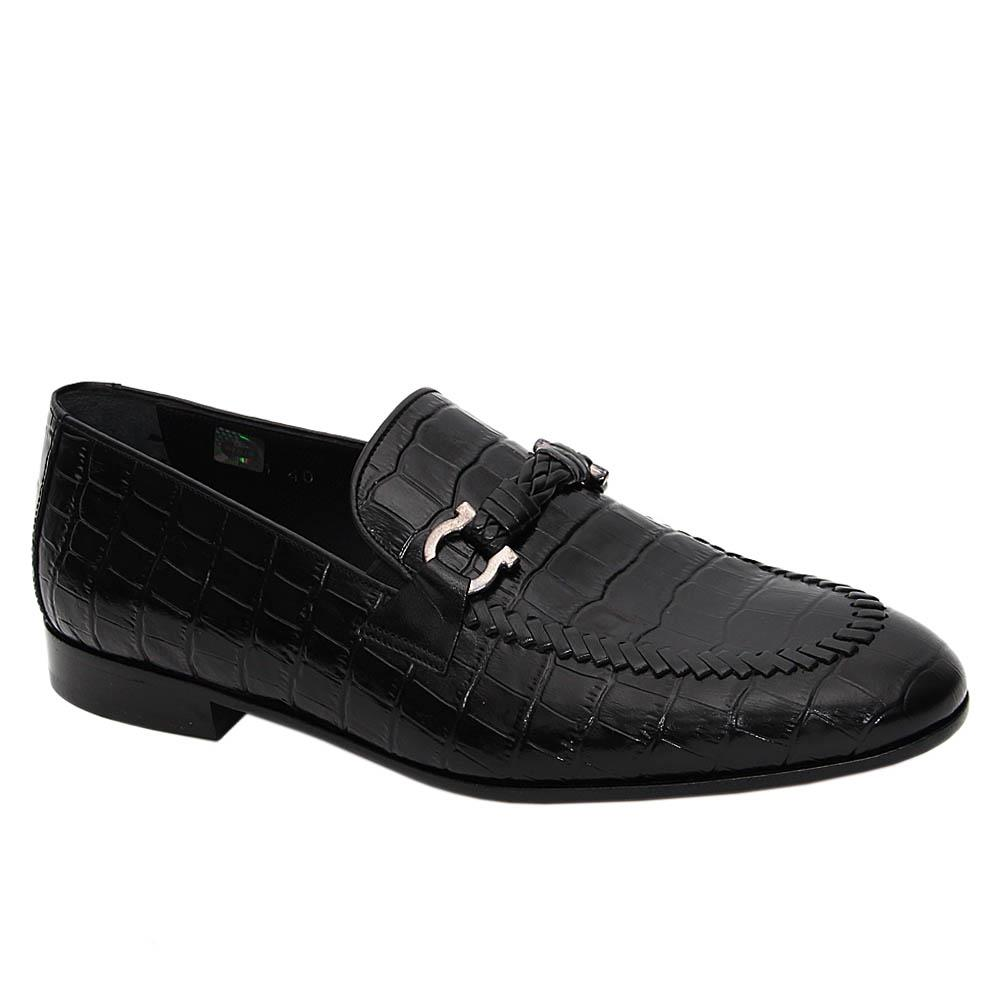 Black Malcom Italian Leather Loafers