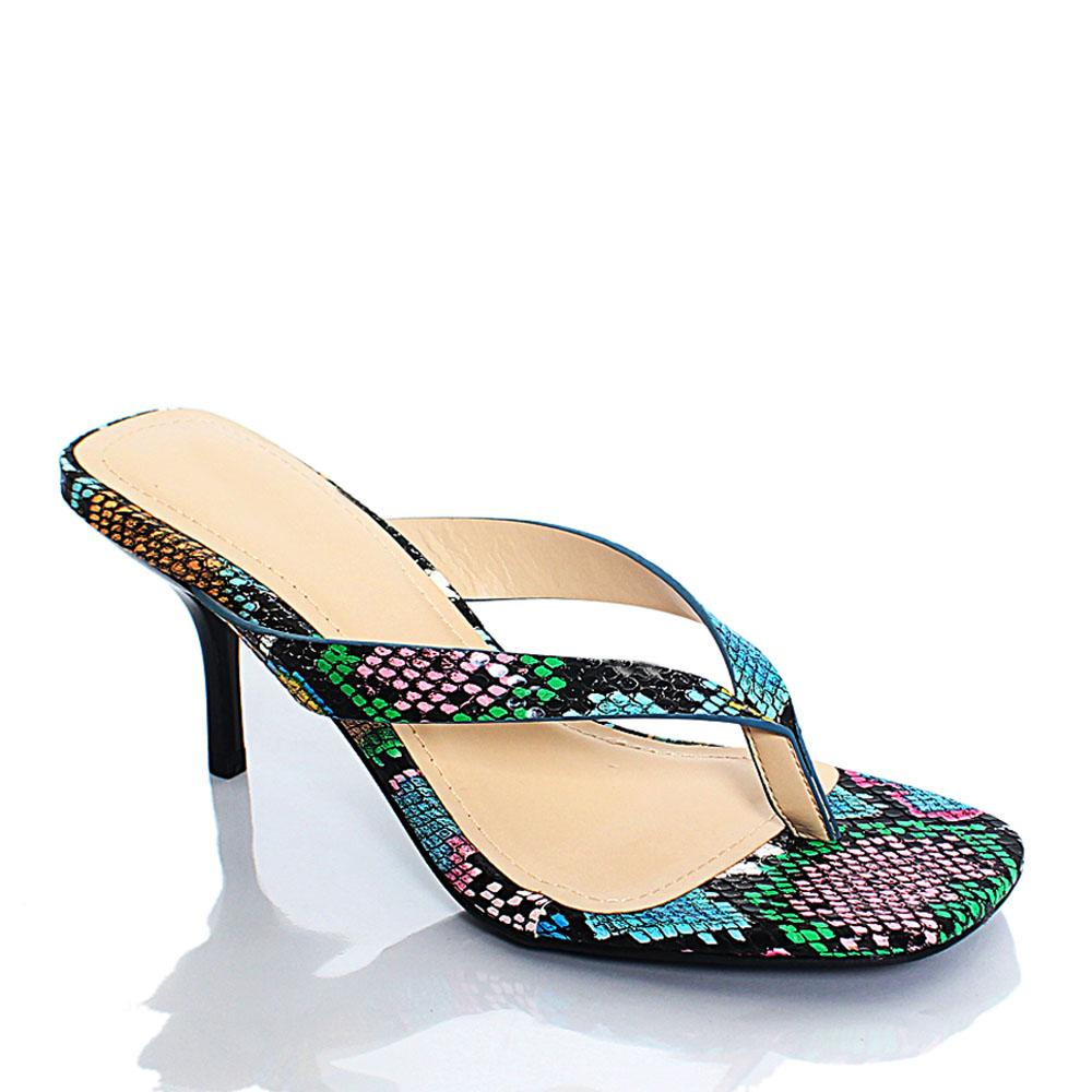 Multicolor Snake Skin BB Reform Leather 2.5 Inch Heel Slippers