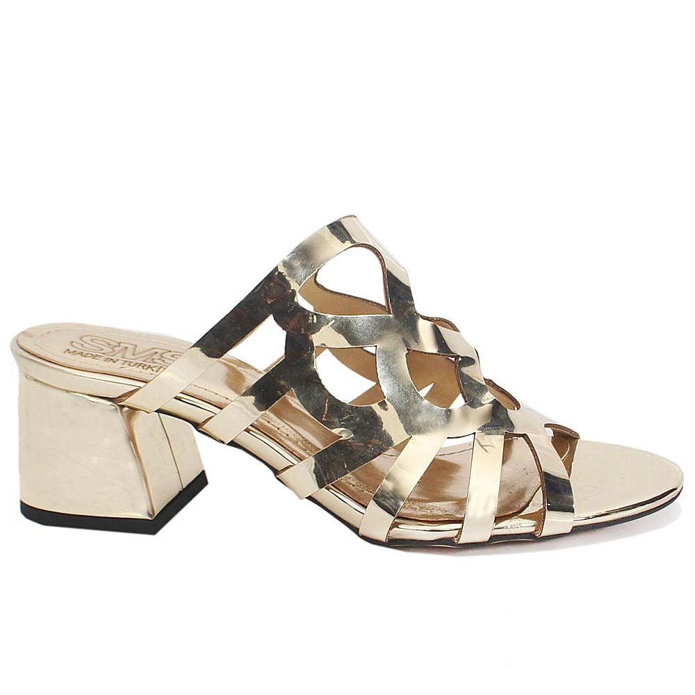 Gold Leather Open Toe Low Heel Ladies Mules