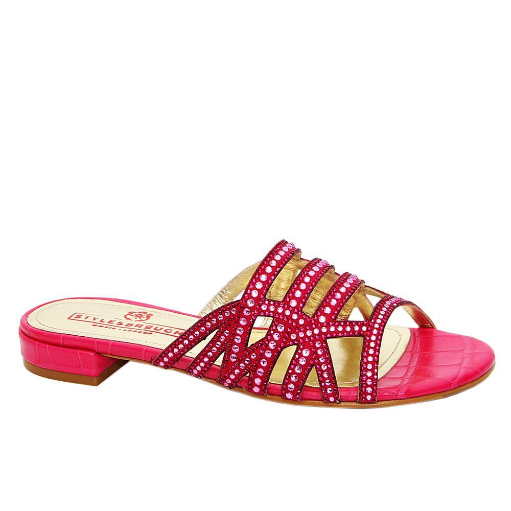 Pink Lana Studded Italian Leather Low Heel Slippers