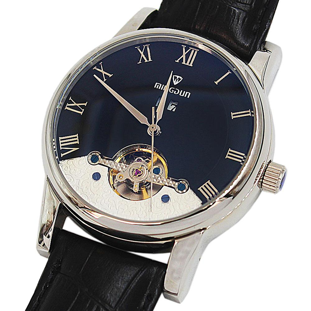 Shanghai Marcello Twin Steel Black Leather Automatic Date Classic Watch