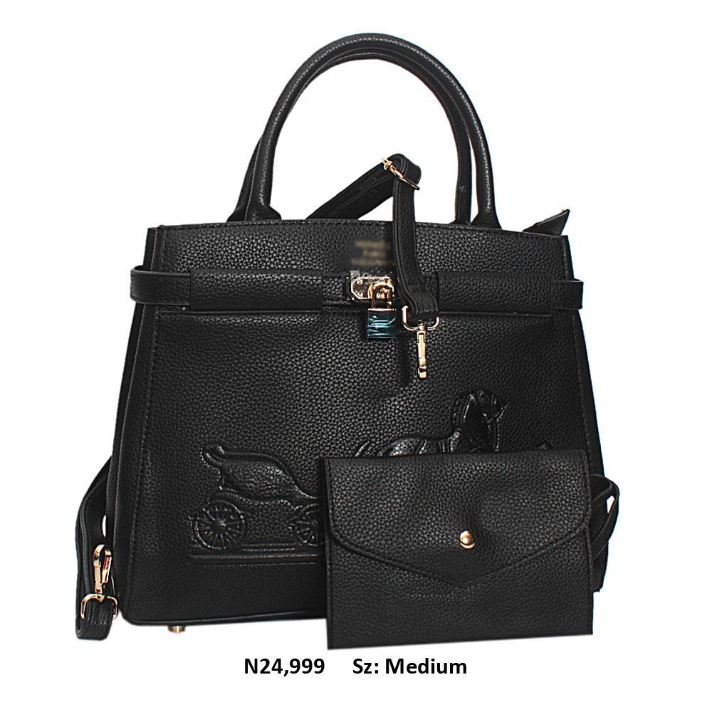 Black Jauna Leather Tote Handbag