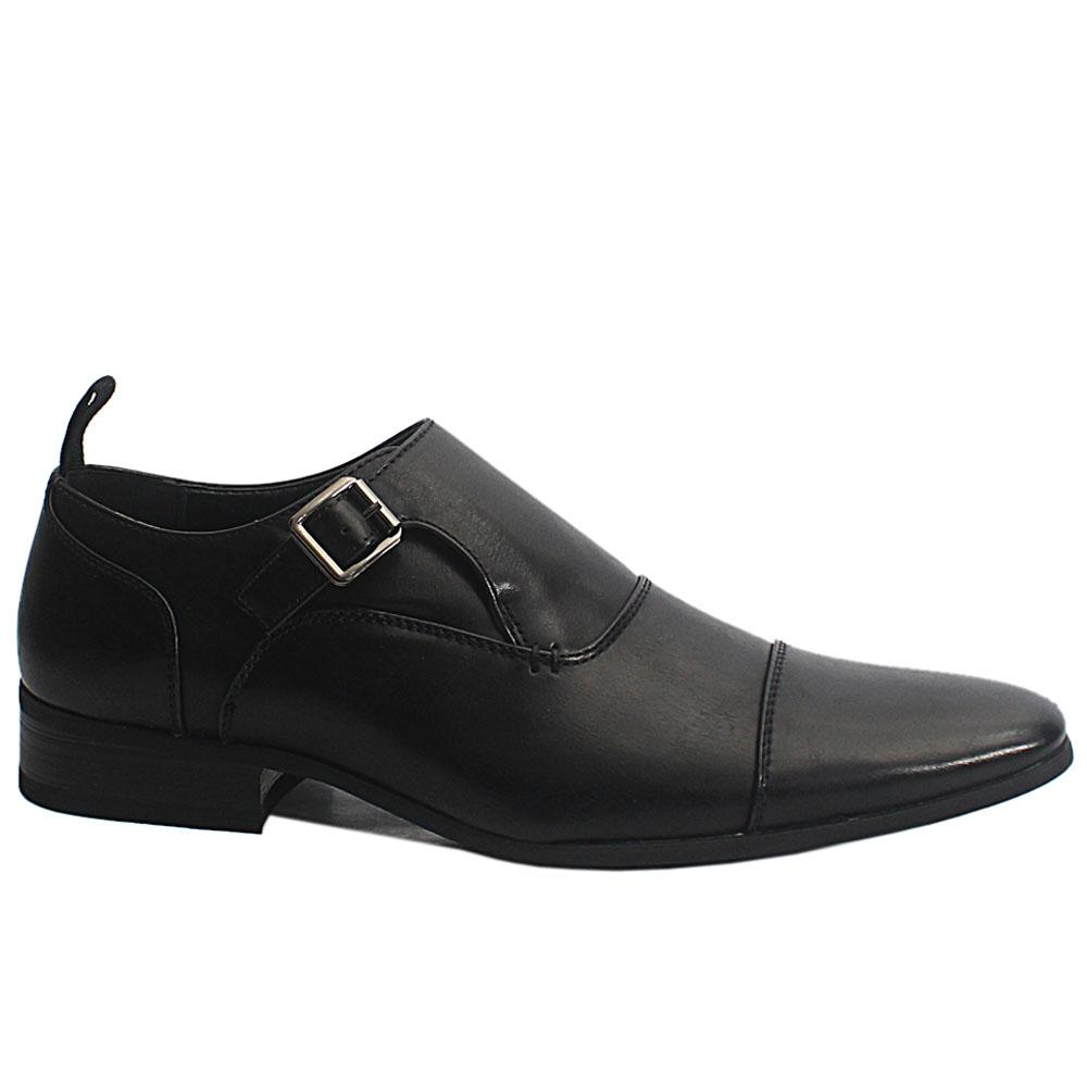 Black Radcliff Leather Men Monk Strap Shoes