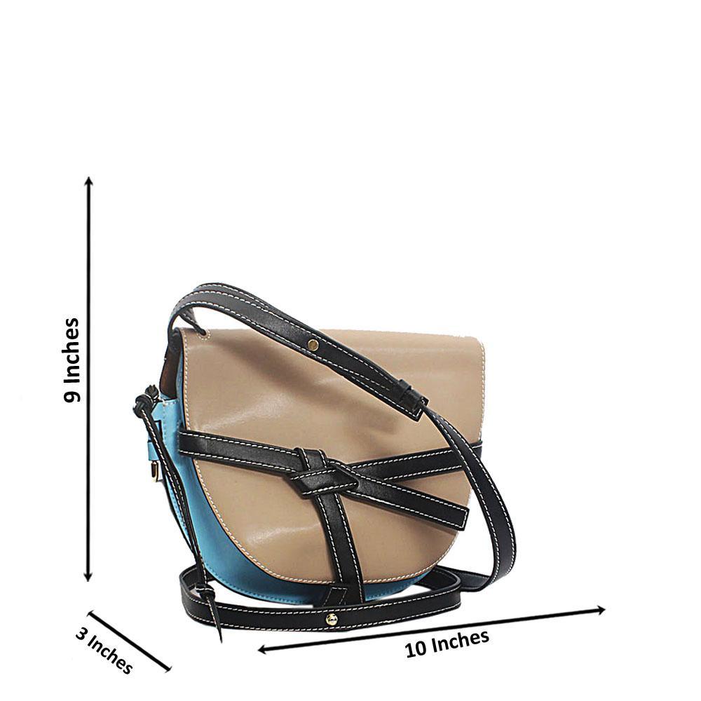 Blue Khaki Pisa Cow Leather Saddle Handbag