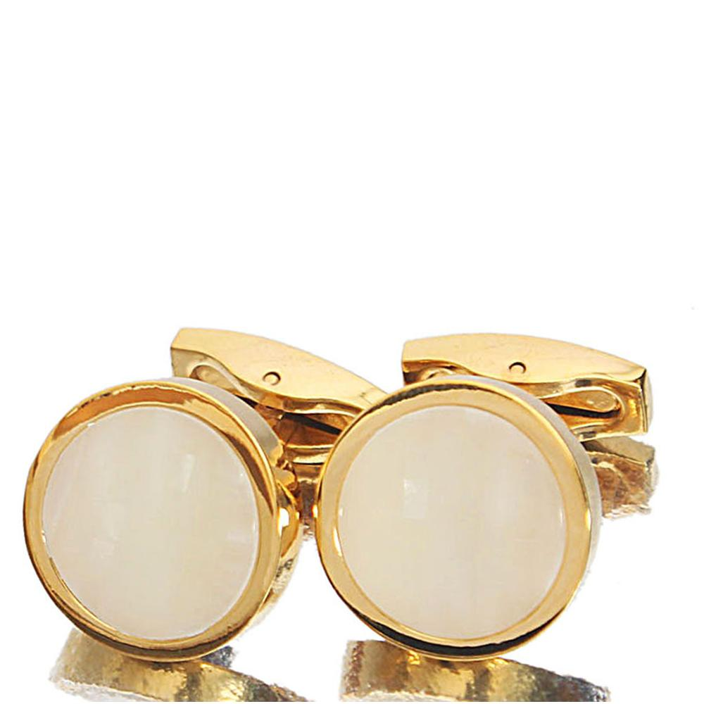 Gold-White-Ceramic-Stainless-Steel-Cufflinks