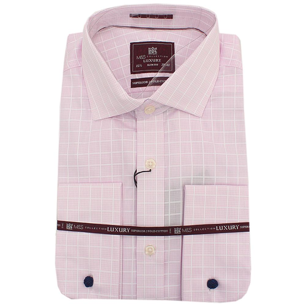 Luxury Pink White Check 2 Fold Cotton L Sleeve Men Shirt Sz 15.5