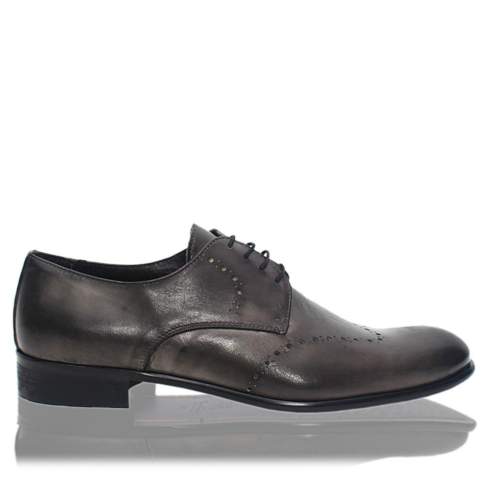 Blackish Gray Elio Italia Leather Men Derby Shoes