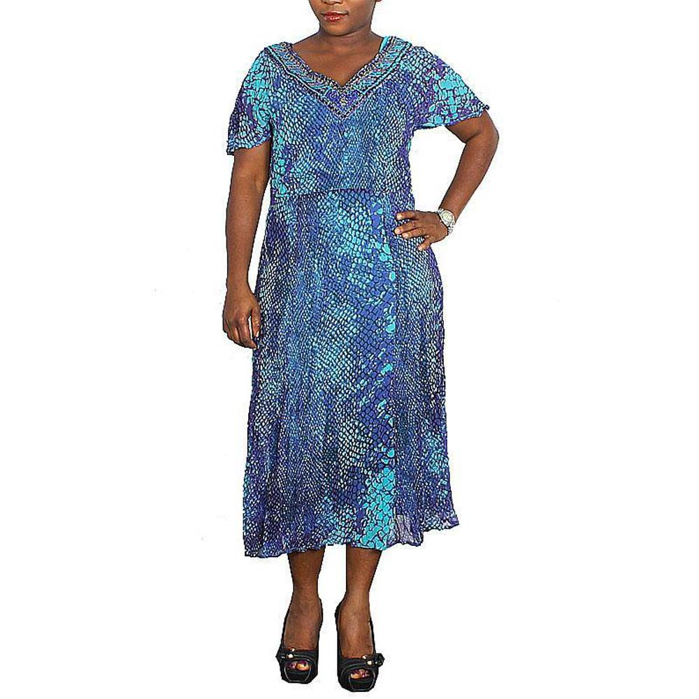 Purple-Green-Black Chiffon Ladies Dress-Uk 12