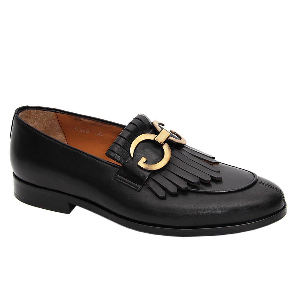 Black GG Italian Leather Fringe Loafers