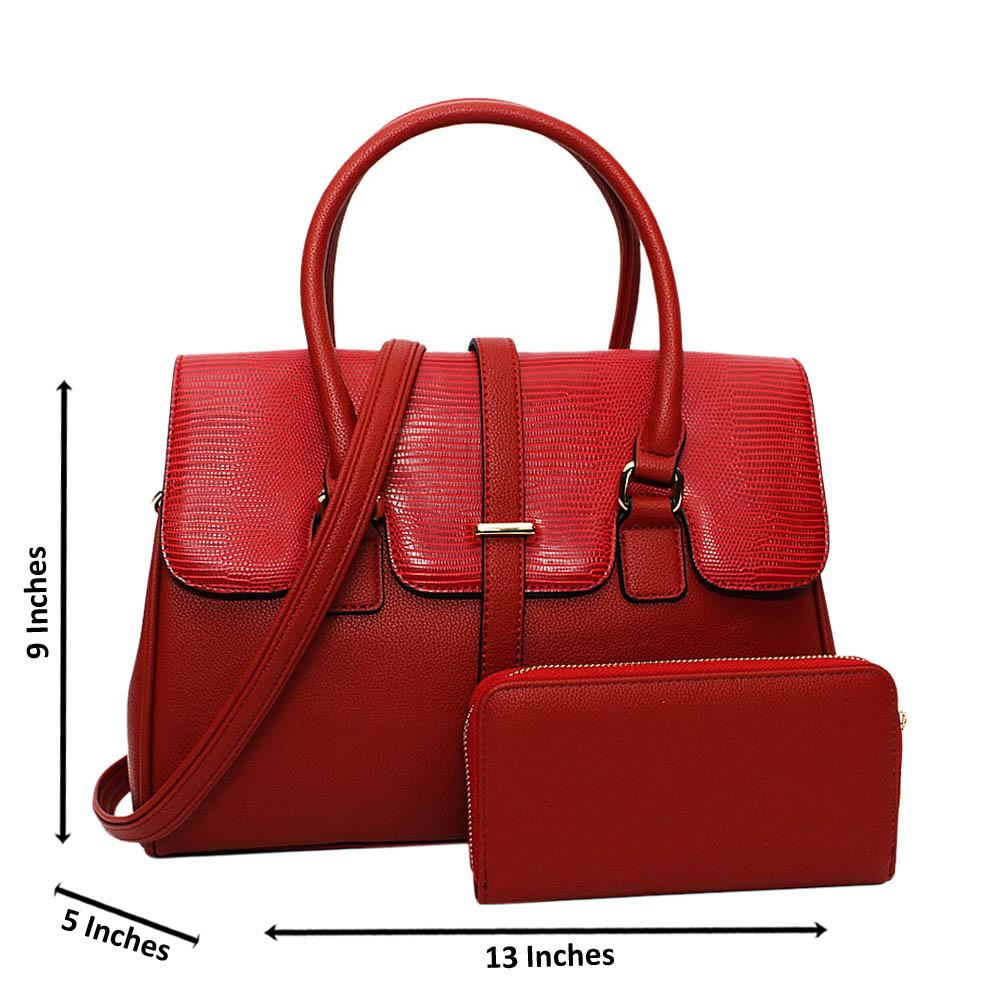 Red Quinn Mix Leather Medium Tote Handbag