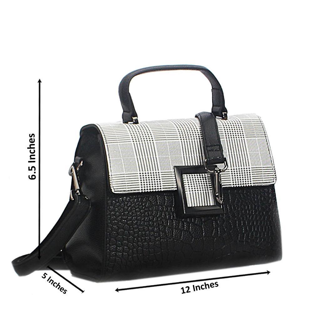 Black White Mix Mya Croc Leather Mini Top Handle Bag