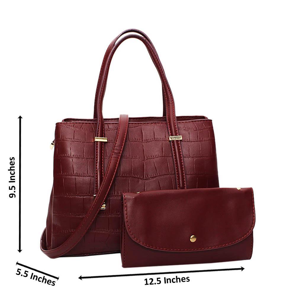 Burgundy Larissa Leather Medium Tote Handbag