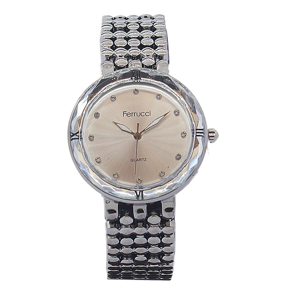 Silver Black Leather Classic Ladies Watch