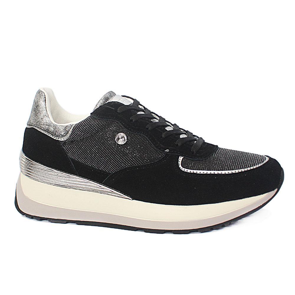 Black Silver Suede Leather Ladies Sneakers