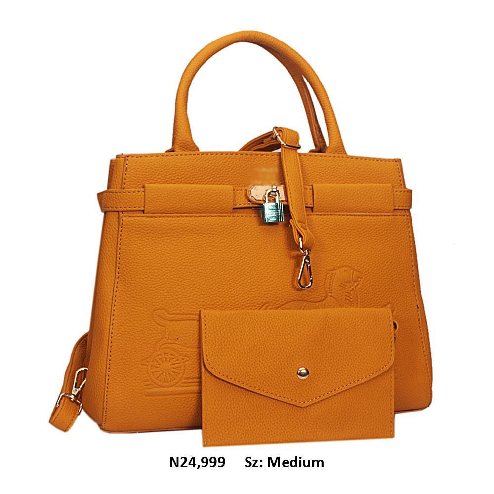 Yellow Jauna Leather Tote Handbag