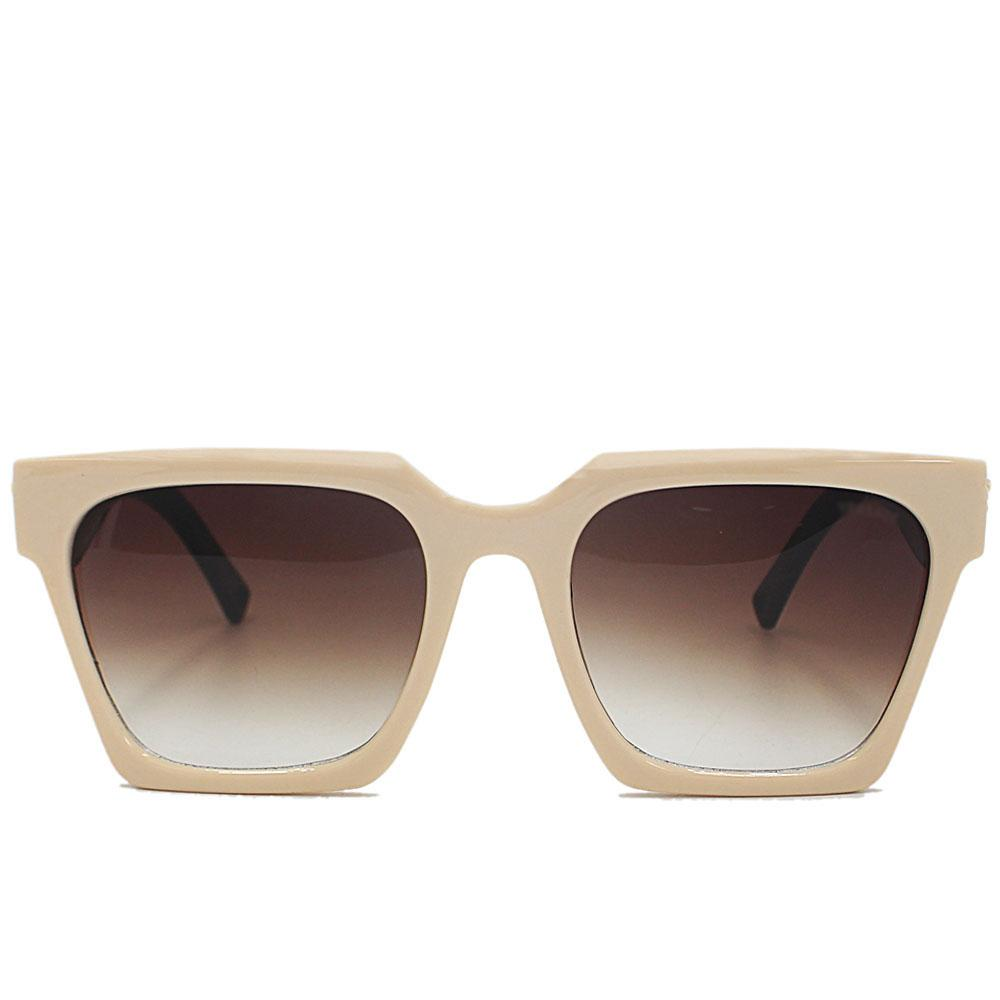 Beige Brown Straight Face Woman Sunglasses