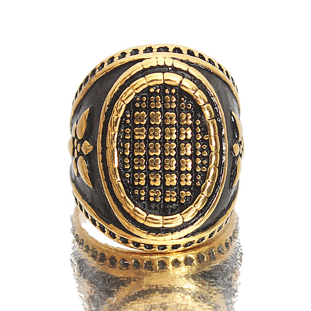 Gold Black Iron Man Classic Steel Ring Sz M