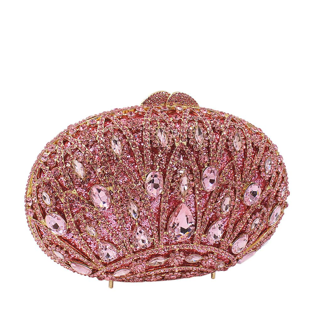 Baby Pink Crown Diamante Crystal Clutch Purse