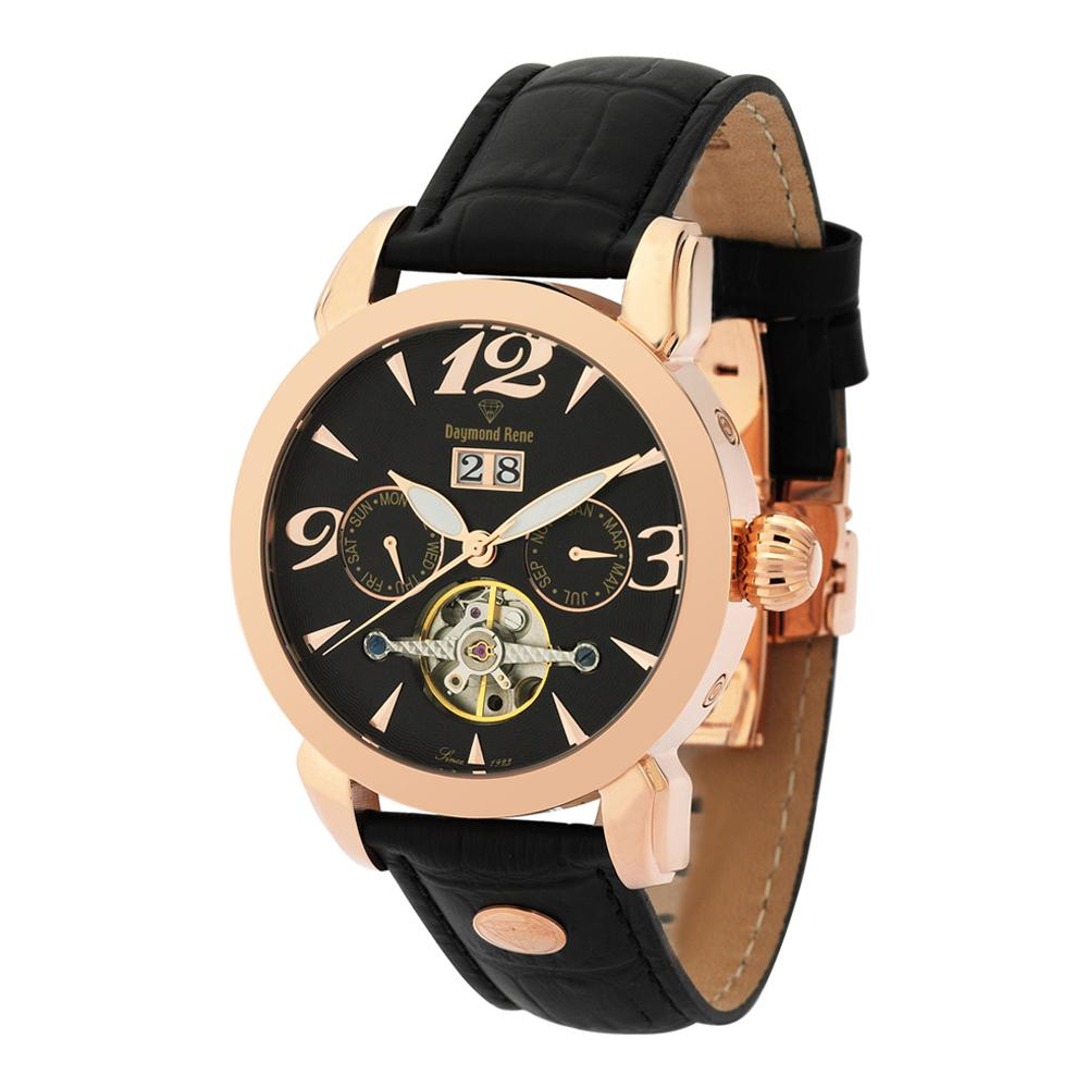 DR 10ATM Black Rose Gold  Leather Automatic Watch