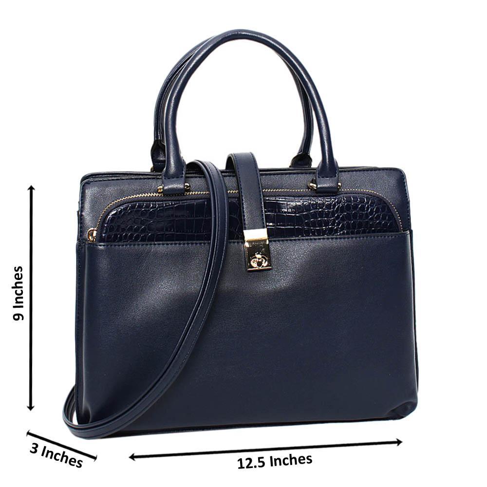 Navy Kylie Leather Medium Tote Handbag