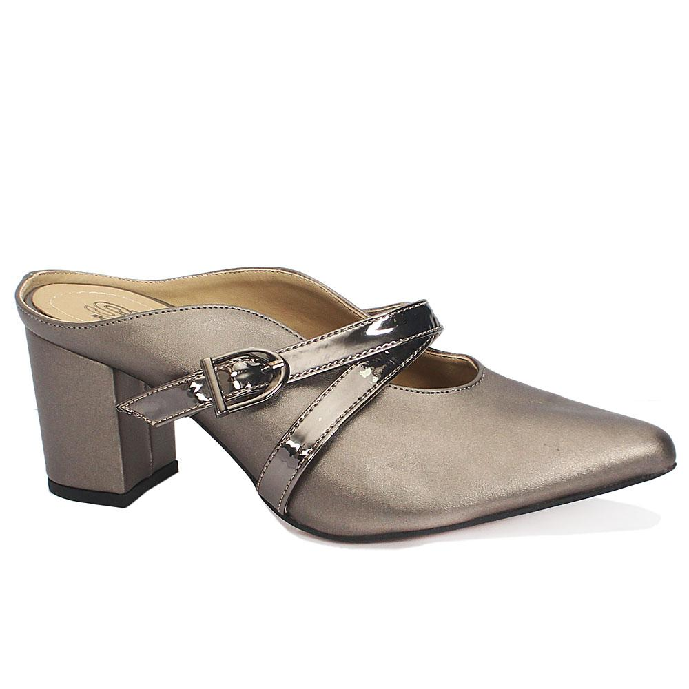 Sz 39 Lucia Metallic Gray Leather Pointed Toe Heels Slippers Wt Buckle
