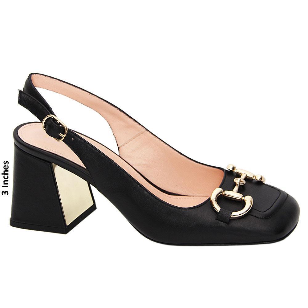 Black Ana Maria Tuscany Leather Mid Heel Slingback Pumps