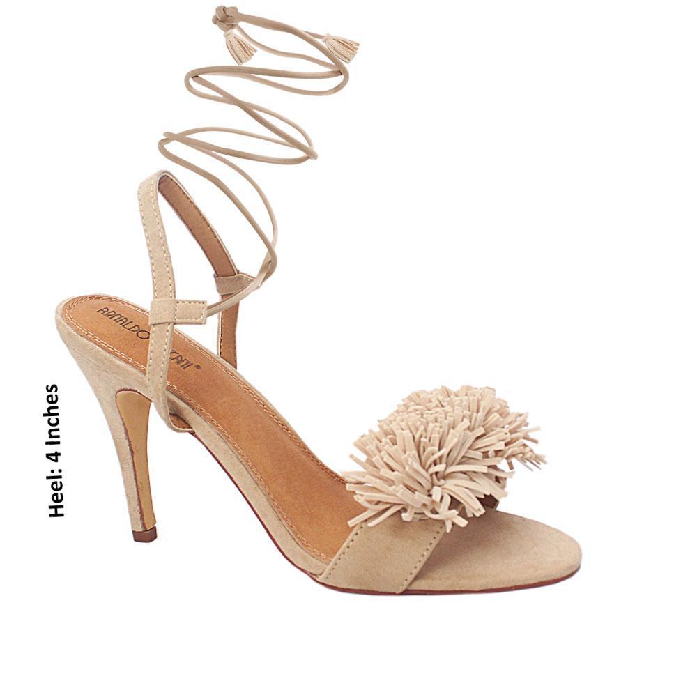 Beige Luciana Suede Leather High Heel