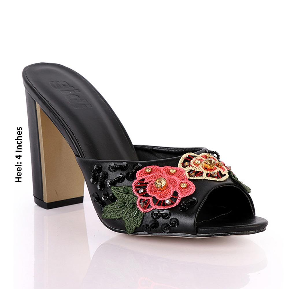 Black Geppi Floral Studded Leather High Heel Mules