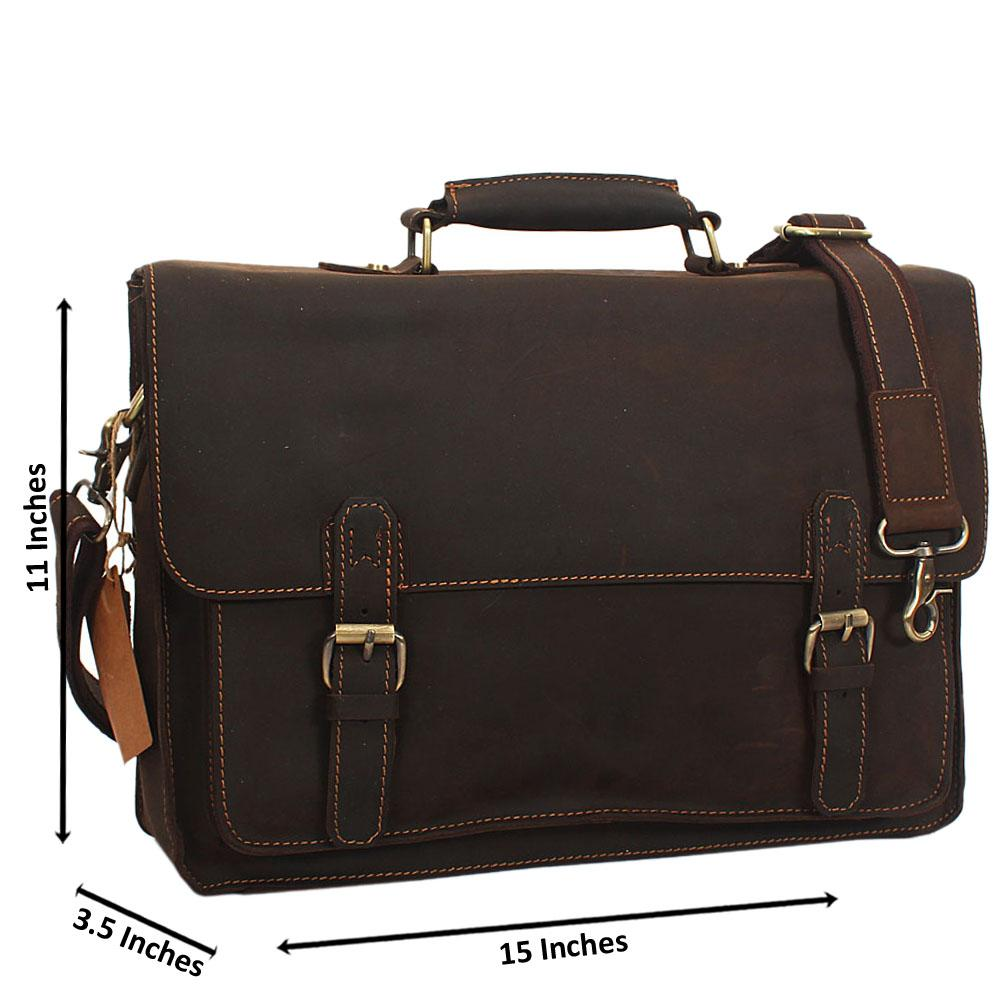 Coffee Distressed Leather Briefcase
