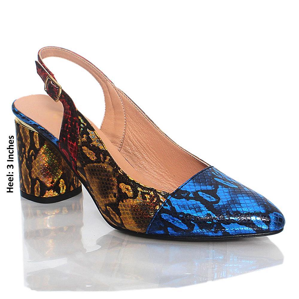 Multicolor Snake Skin Italian Leather Slingback Shoe