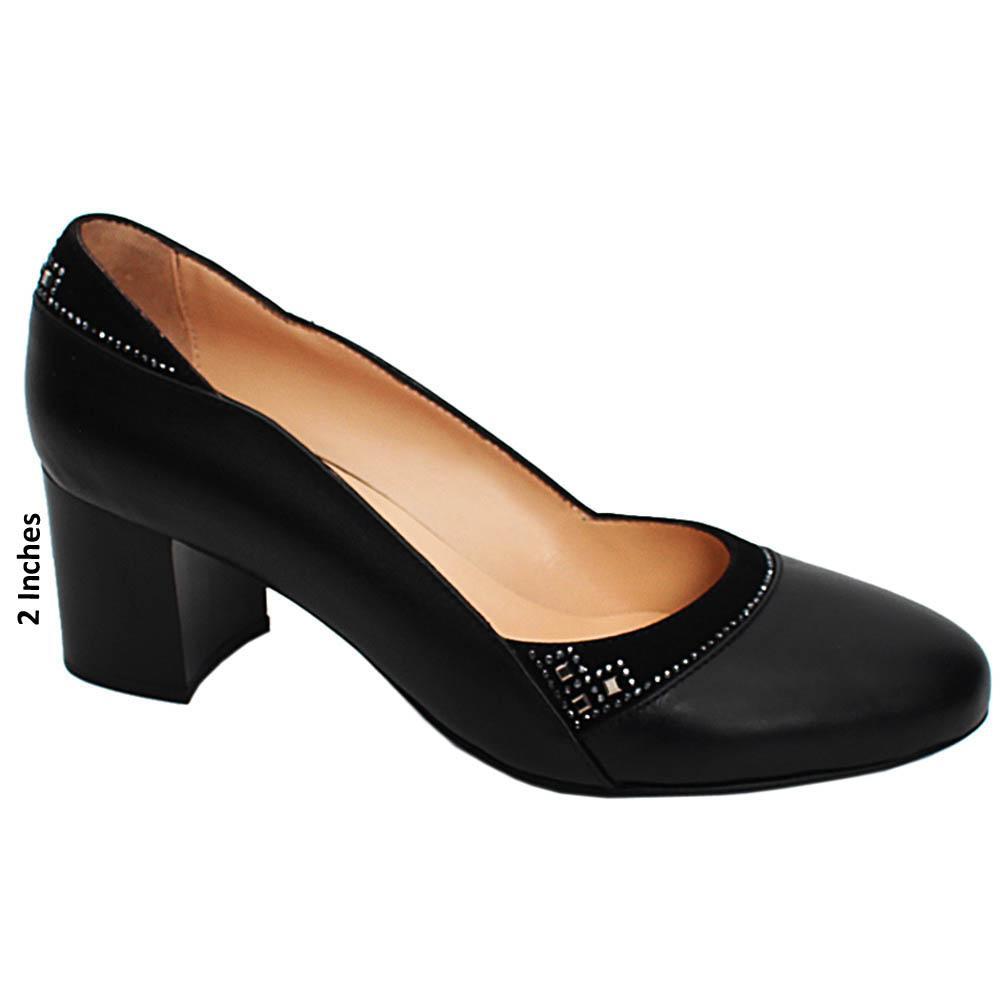 Black Evelyn Studded Italian Leather Block Mid Heel Pumps