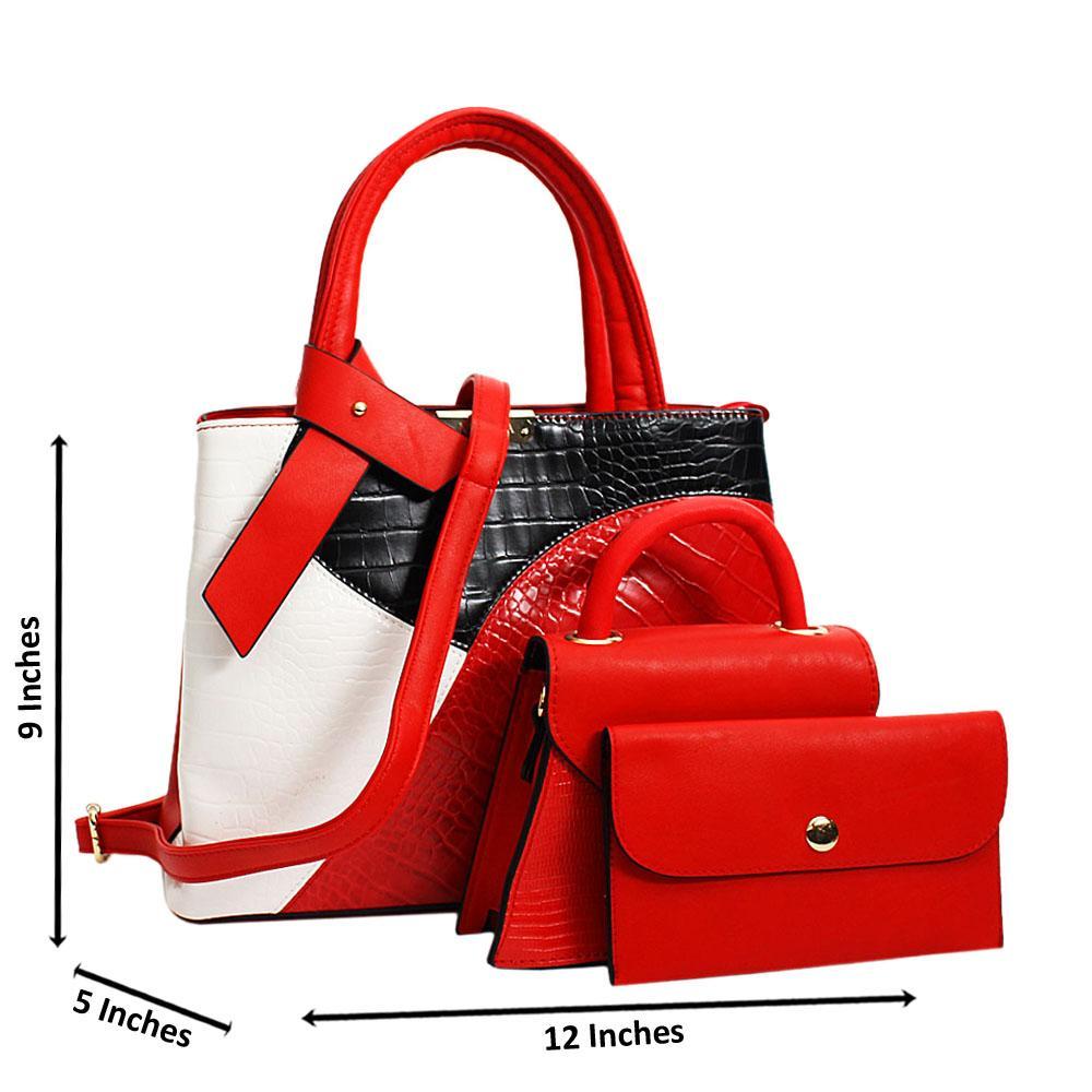 Red Adellina Mix Croc Leather Medium 3 in 1 Tote Handbag