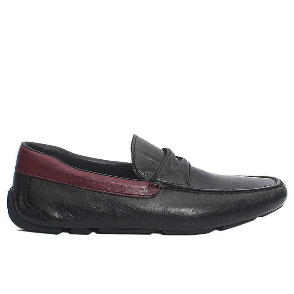 Black Domenico Italian Leather Drivers Shoes