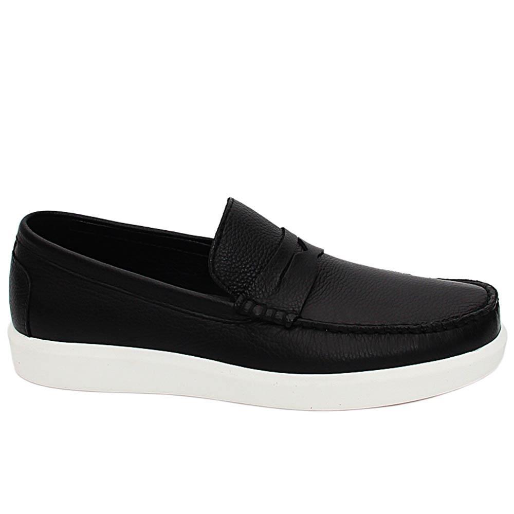 Black Chris Italian Leather Slip On Sneakers