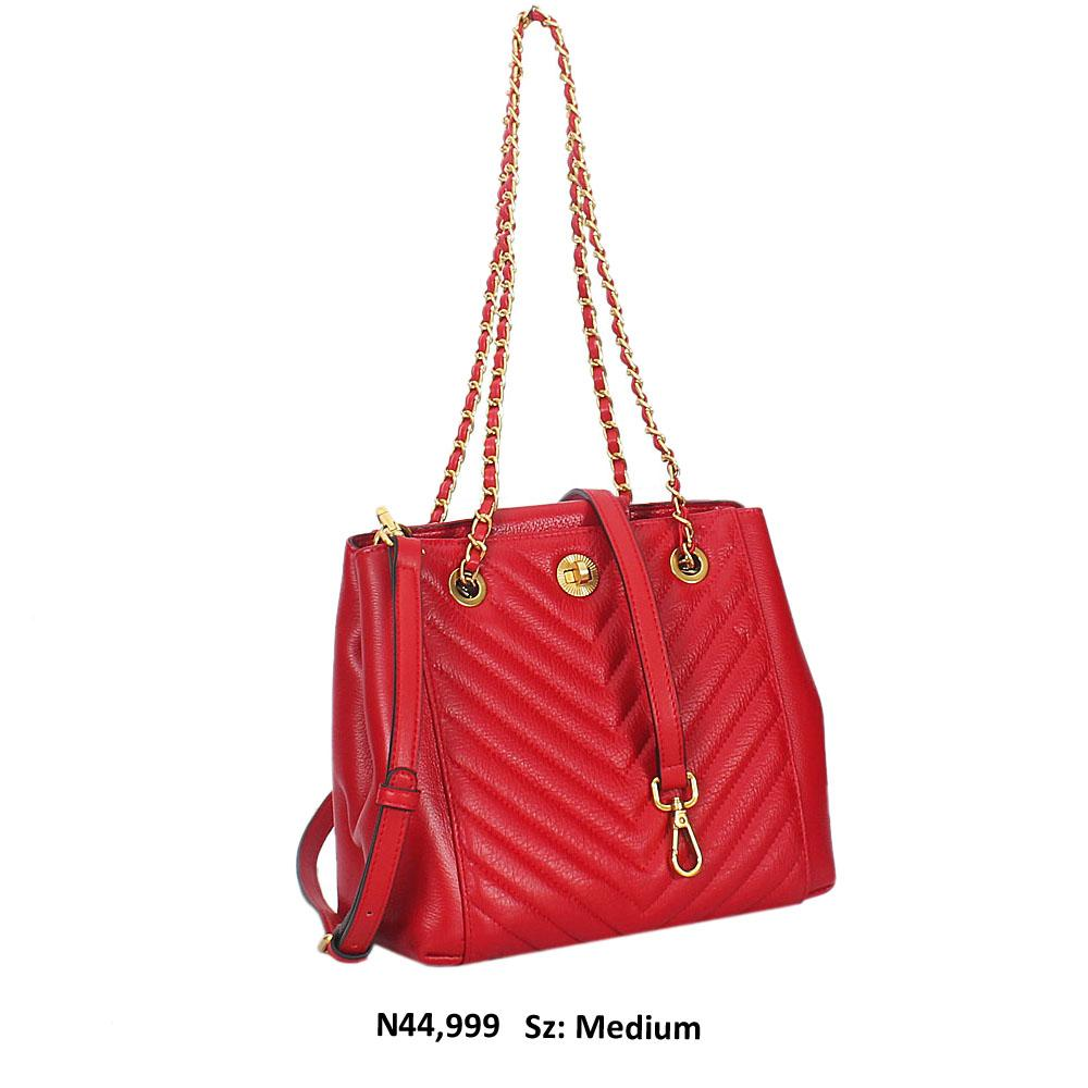 Maroon Red Meave Leather Chain Shoulder Handbag
