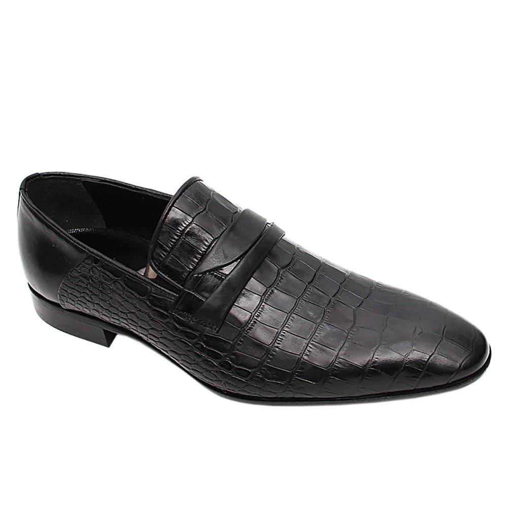 Black Hernado Italian Leather Loafers
